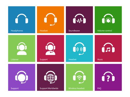 earpieces: Headphones icons on color background.