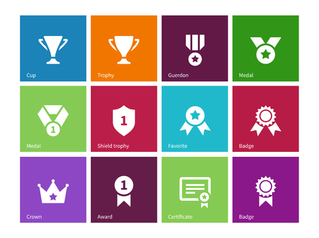 awards ceremony: Cup and awards icons on color background.