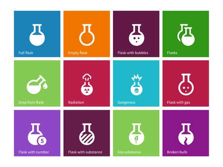 effervescent: Chemical bulb icons on color background.
