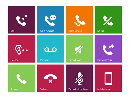 voice mail: Call and handset icons on color background. Illustration