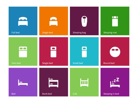twin bed: Full and single bed icons on color background.