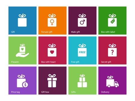Present Box on color background. Vector