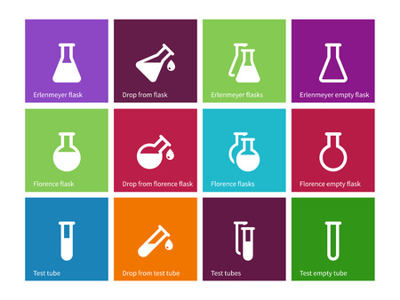 chemical laboratory: Chemical laboratory flask icons on color background.