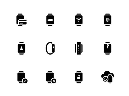 e wallet: Smart watch with payment function icons on white background.