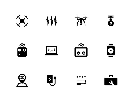 Flying dron++e icons on white background.