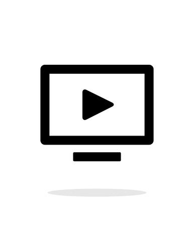 flatscreen: Flatscreen TV simple icon on white background. Illustration