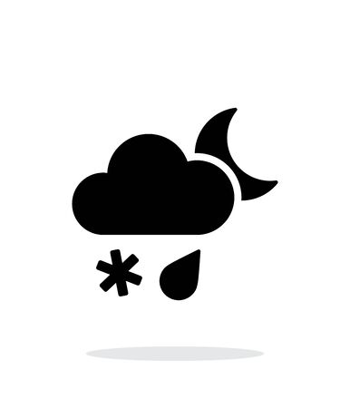 windstorm: Sleet at night weather simple icon on white background.