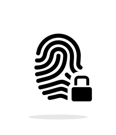 odcisk kciuka: Odcisk palca i palca z ikoną kłódki na białym tle.