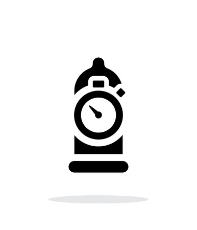 Condom with sex timer icon on white background. Illustration
