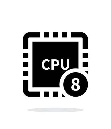 core: Eight Core CPU simple icon on white background. Illustration