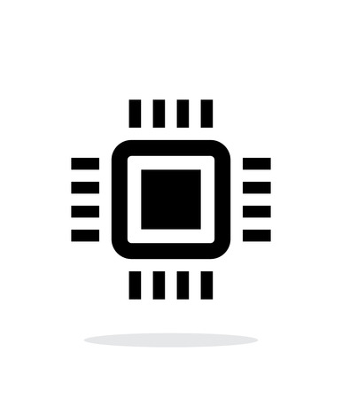 micro chip: Mini CPU simple icon on white background.