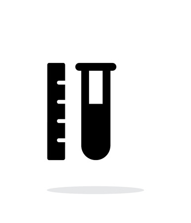 Test tube with ruler simple icon on white background. Vector