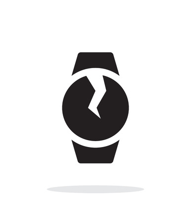breakage: Broken round smart watch simple icon on white background. Illustration