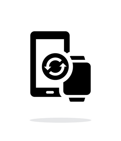 synchronization: Smart watch with phone synchronization simple icon on white background.