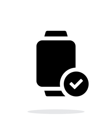 accept icon: Accept sign on smart watch simple icon on white background.
