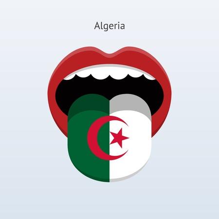 algeria: Algeria language. Abstract human tongue. Illustration