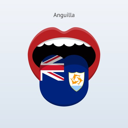 Anguilla language. Abstract human tongue.