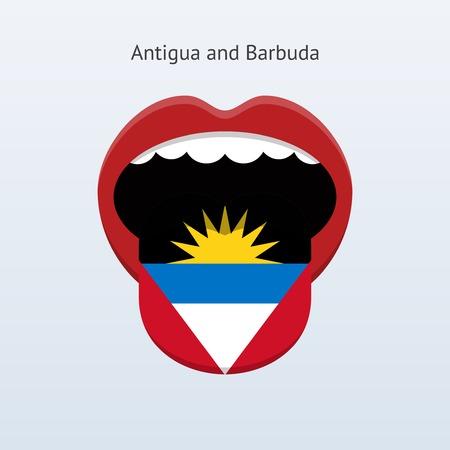 Antigua and Barbuda language. Abstract human tongue. Çizim
