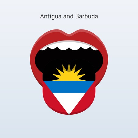 antigua: Antigua and Barbuda language. Abstract human tongue. Illustration