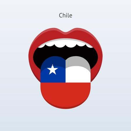 human tongue: Chile language. Human tongue. Illustration