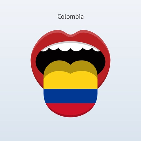 colombia: Colombia language. Abstract human tongue.