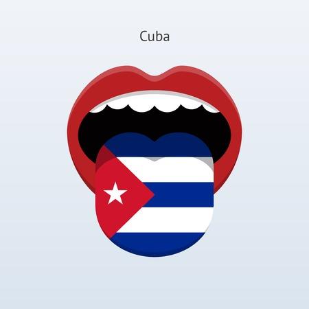 Cuba language. Abstract human tongue. Çizim