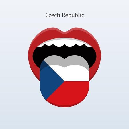 linguist: Lenguaje Rep�blica Checa. Lengua humana abstracta. Ilustraci�n del vector.