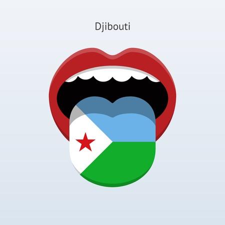 Djibouti language. Abstract human tongue. Vector illustration. Çizim