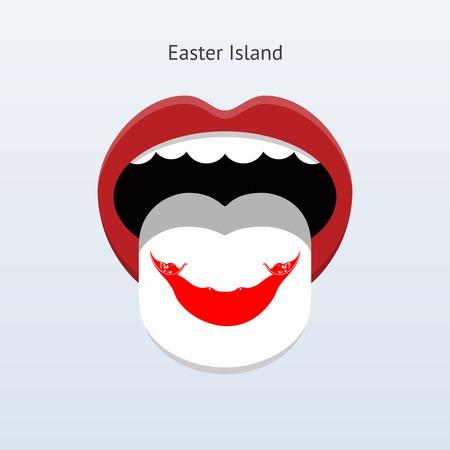 linguist: Easter Island language. Abstract human tongue. Vector illustration.