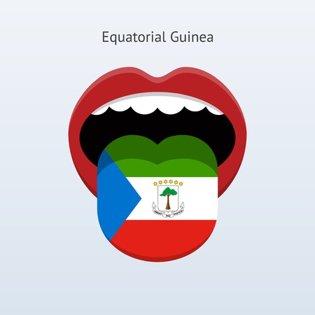 linguist: Equatorial Guinea language. Abstract human tongue. Vector illustration.