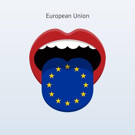 European Union language. Abstract human tongue. Vector illustration.