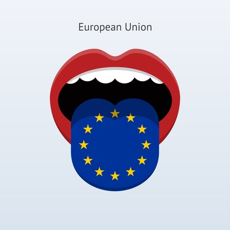 linguist: European Union language. Abstract human tongue. Vector illustration.