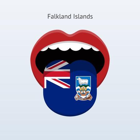 linguist: Falkland Islands language. Abstract human tongue. Vector illustration.