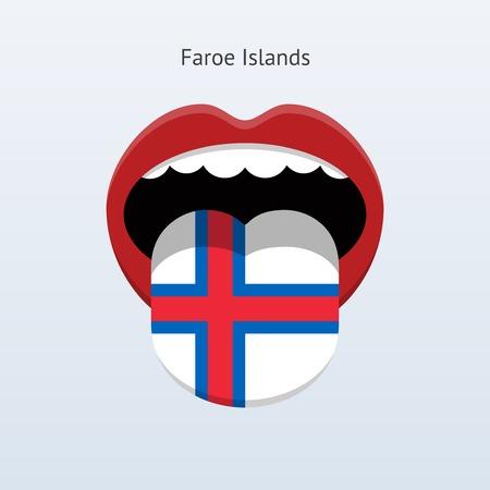 Faroe Islands language. Abstract human tongue. Vector illustration. Çizim