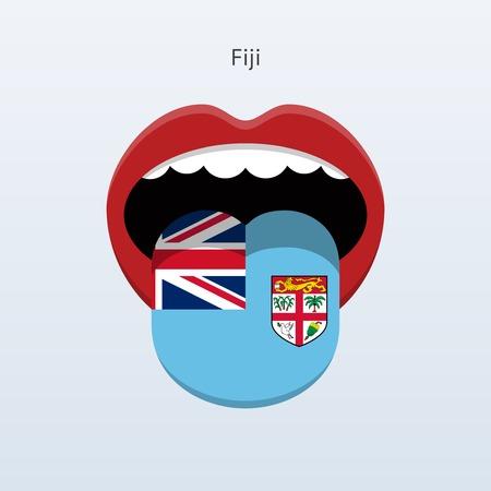 linguist: Fiji language. Abstract human tongue. Vector illustration. Illustration