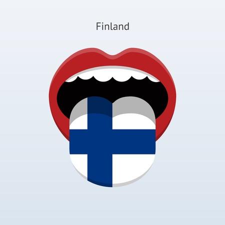 linguist: Idioma Finlandia. Lengua humana abstracta. Ilustraci�n del vector.