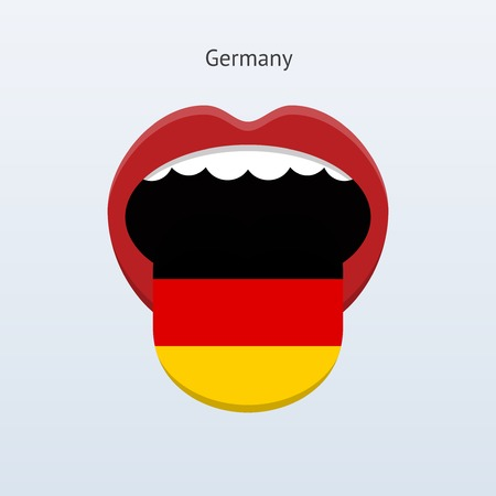 foreign country: Germany language. Abstract human tongue. Vector illustration.