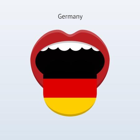 linguistics: Germany language. Abstract human tongue. Vector illustration.