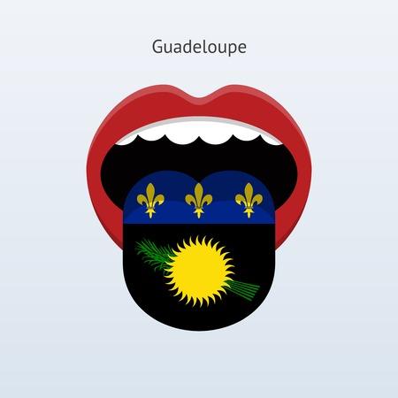 Guadeloupe language. Abstract human tongue. Vector illustration.