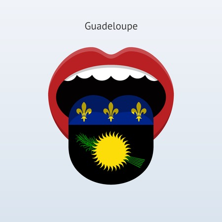 linguist: Guadeloupe language. Abstract human tongue. Vector illustration.