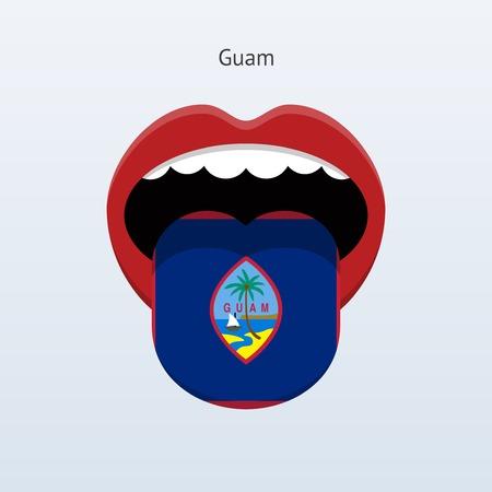 linguist: Guam language. Abstract human tongue. Vector illustration.