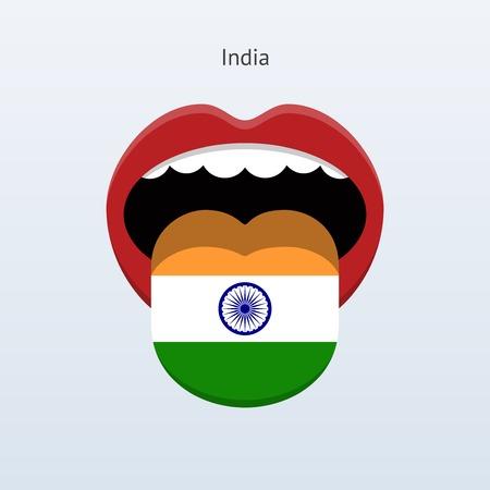 India language. Abstract human tongue. Vector illustration.
