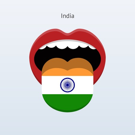 linguistics: India language. Abstract human tongue. Vector illustration.