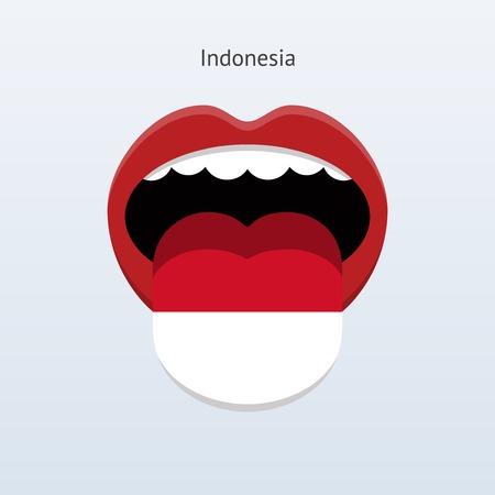 Indonesia language. Abstract human tongue. Vector illustration.