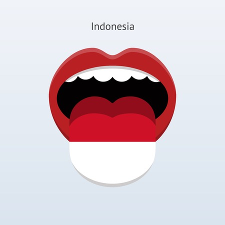linguist: Indonesia language. Abstract human tongue. Vector illustration.