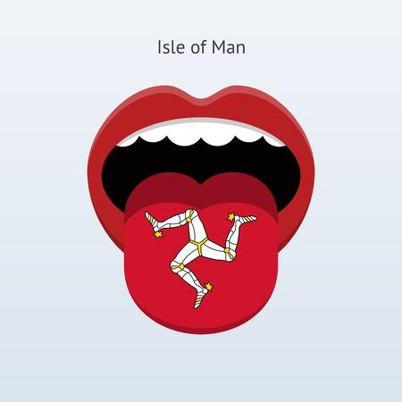 linguist: Isle of Man language. Abstract human tongue. Vector illustration.