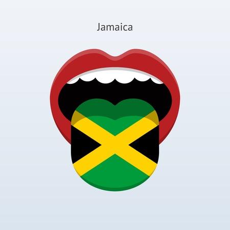 linguist: Jamaica language. Abstract human tongue. Vector illustration. Illustration