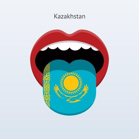 linguist: Kazakhstan language. Abstract human tongue. Vector illustration.