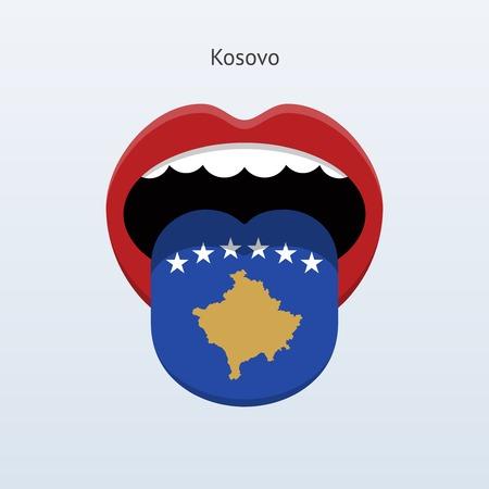 linguistics: Kosovo language. Abstract human tongue. Vector illustration.