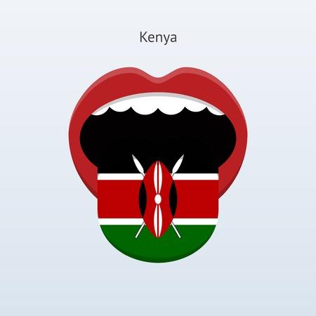 linguistics: Kenya language. Abstract human tongue. Vector illustration.